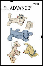 """ADVANCE #6588 16"""" Stuffed Animal PUPPY DOG PET/PAJAMA BAG Fabric Sewing Pattern"""
