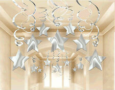 30ct SILVER SHOOTING STARS SWIRL Decorations Graduation-Birthday Party Supplies
