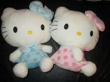 """CUTE Pink and Blue HELLO KITTY Stuffed Plushes Round 1 UFO Catcher 13-14"""""""