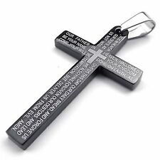 MENDINO Men's Stainless Steel Pendant Necklace Cross Bible Lords Prayer Black