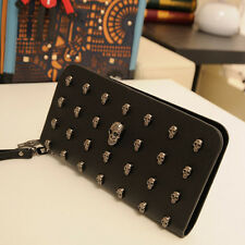 Fashion Women's Skull 3D Studded Synthetic Leather Goth Punk Purse Clutch Wallet