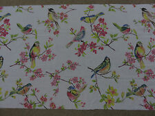 Birds flowers leaves pink blue green white remnant fabric piece 64x45cm new