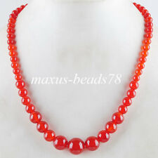 "New Natural Red Agate Gemstones 6~14mm Round Beads Necklaces 17.5"" MF1152"