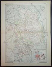 1890 impression antique carte en couleurs de Cher Bourges France carte française