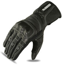 Motorbike Gloves Motorcycle Biker Racing Wear Black Goat Leather Knuckle, XL
