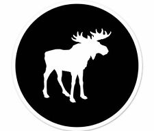 "Moose Circle Black  car bumper sticker decal 4"" x 4"""