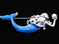 SILVER BLUE PEARL WATER OCEAN SEA LIFE SWIMMING LADY MERMAID PIN BROOCH JEWELRY