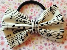 "NEW 3"" BLACK WHITE MUSIC NOTE PRINT FABRIC BOW HAIR ELASTIC BAND PONYTAIL BOBBLE"