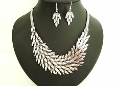 Chunky Silver Layered Leaf Feathered Necklace & Earring Set Designer Style Boho