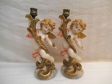 """Pair 11"""" Vintage Hand Painted Cherub Candlestick Holders - Italy 4905 - Resin"""