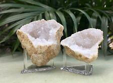 Natural Geode Pair W/Stand Geode Crystal Quartz Druze Specimen Moroccan Geode.