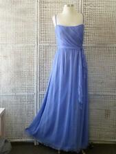 Designer AMSALE Lilac Silk Chiffon Ruched Fit & Flare Dress Gown & Sash~14=8/10