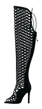 Womens Lace Up Cage Cut Out Over The Knee Thigh High Boot Stiletto Heel Peep Toe