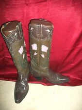 CUSTOM COWBOY BOOTS TALL OLIVE GREEN & BROWN LAVENDER FLOWERS 9