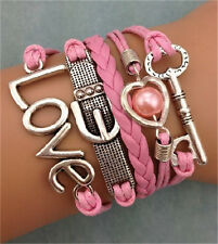 NEW Retro Infinity Key Love Heart Pearl Leather Charm Bracelet plated Silver W12