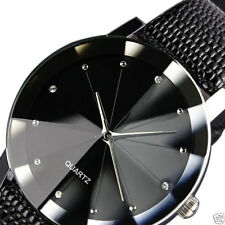 Mens Military Luxury Leather Band Stainless Steel Dial Quartz Wrist Watch Sport
