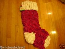 NEW  Christmas Knit Red and White Stockings Holiday Decorations Stocking