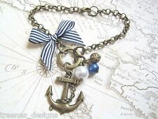 BRONZE ANCHOR NAUTICAL Blue Stripe Bow Antique Gold Charm Bracelet Sailor Jerry