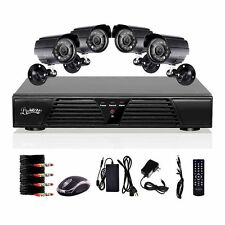 Liview 8CH Channel Full D1 DVR and 4pcs Outdoor 600TV Lines Day/Night cameras US