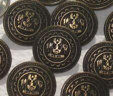 "FANCY Military Uniform Style Set 11 Vtg New Antiqued BRASS Metal Buttons 13/16"""