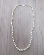 Genuine Tapered Pearl Necklace with 14KT White Gold Clasp ~ 5-H6163