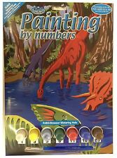 A4 DINOSAURS AT WATERING HOLE JURRASIC PARK PAINTING PAINT BY NUMBERS KIT PJS3