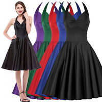 VINTAGE 1940s 1950s BLACK PURPLE BLUE RED RETRO SWING PINUP PARTY EVENING DRESS