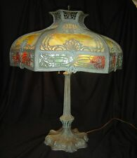 Antique Stained Slag Glass  Verdigri Art & Craft Mission Tiffany Style Lamp 1925