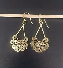 Gold look drop earrings tribal jewel bohemian earrings artistic designed earring