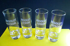 4 Tall ABSOLUT CITRON Votka SHOT GLASSES White Frosted Logo - MINT!