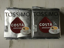 Tassimo Costa Americano Coffee 2 Packs 32x Large Cup Size 220ml T Disc Pods