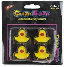 4PC Duck Novelty Erasers Rubber Party Bag Filler Home School Stationary Supplies