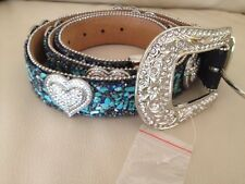 BLUE CRYSTAL HEART RHINESTONE BLING SHOW BELT LEATHER LADIES EXTRA LARGE