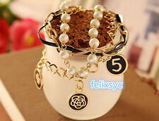 Korean Style Faux Pearl Multi-Layer Bracelet round black New Bangle gift party