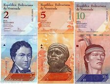 LOT SET SERIE 3 BILLETS VENEZUELA 2 5 10 BOLIVARES  UNC NEUF