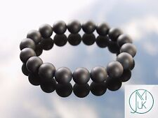 Black Onyx Matt 10mm Natural Gemstone Bracelet 7-8'' Elasticated Healing Stone