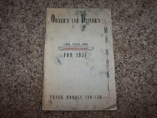 1951 GMC Truck 100-350 Owner Owner's User Guide Operator Manual 4.1L 4.3L V6