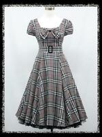dress190 GREY TARTAN CHECK CAP SLEEVE 50's 60's ROCKABILLY  VINTAGE PARTY DRESS