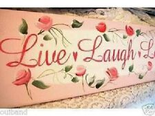 Chic and Shabby Sign LIVE LAUGH LOVE Pink Roses