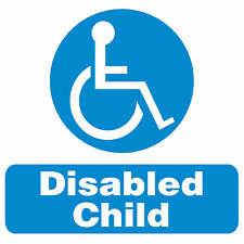 Disabled Child car window stickers x2. size 100x100mm.