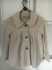 JIGSAW SIZE 10 SHORT BEIGE SMOCK STYLE JACKET/COAT WITH THREE BUTTONS DOWN FRONT