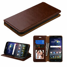 For ZTE Grand X 3 Z959 Leather Flip Wallet Case Cover Stand BROWN