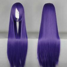 Purple Mixed Blue Synthetic Cosplay Wigs 100cm Long Lolita Anime Party Women Wig