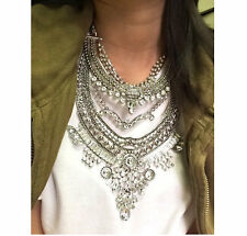 Large Tribal Chunky Silver Kendall Statement Necklace Dylanlex Falkor Inspired