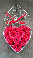 Heart Shape Wire Cage With Soap  Red Rose, perfect for Valentine Gift