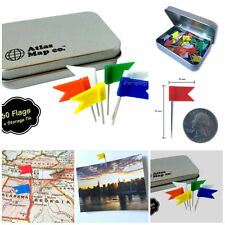 60 Extra Long Flag Shaped Map Marking Push Pins 5 Assorted Colors In Metal Tin