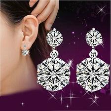 Women's Zircon Crystal Ear Stud 925 Solid Silver Earrings jewelry birthday gift