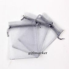 50Pcs 7x9cm Silver Organza Jewelry Pouch Wedding Party Gift Bags Decoration
