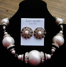 KATE SPADE AUTHENTIC TUXEDO PEARL CRYSTAL BLACK NECKLACE EARRINGS SET RARE BRIDE