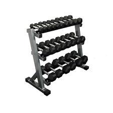 1kg - 15kg Rubber Hex Dumbbell Set with 3 Tier Rack